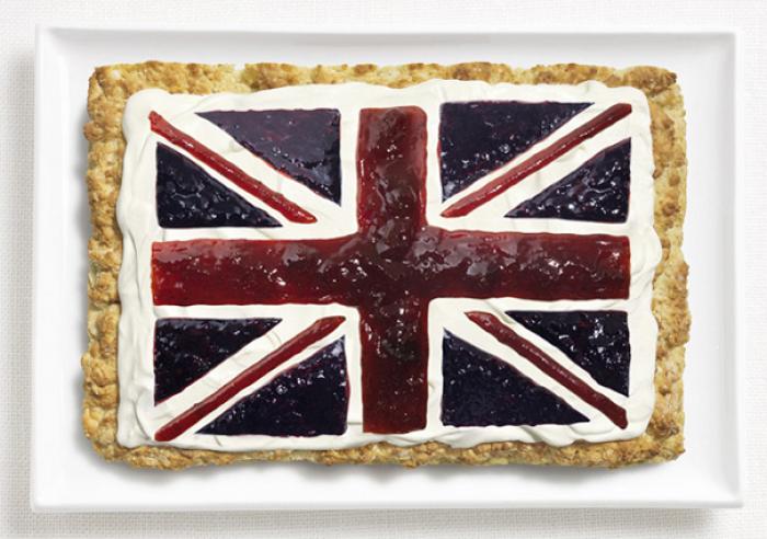 Национальный флаг Великобритании из еды