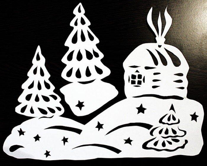 Картинки новогодние украшения для окон своими руками