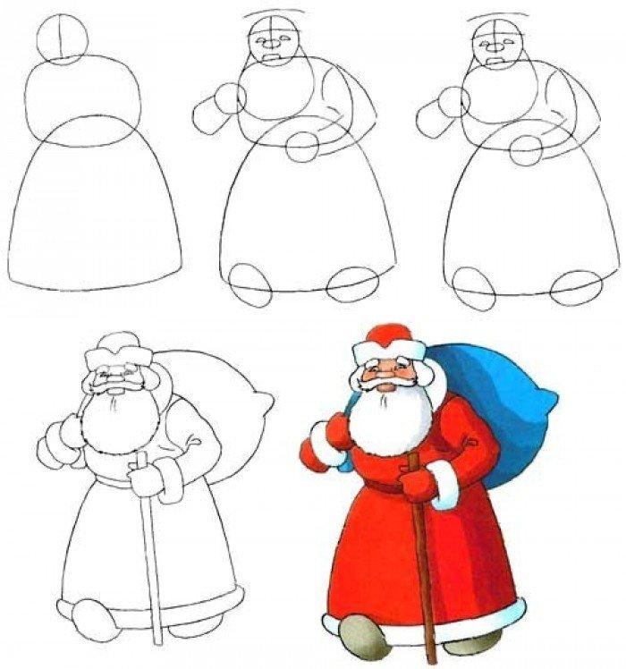 Как нарисовать Деда Мороза поэтапно, фото 6