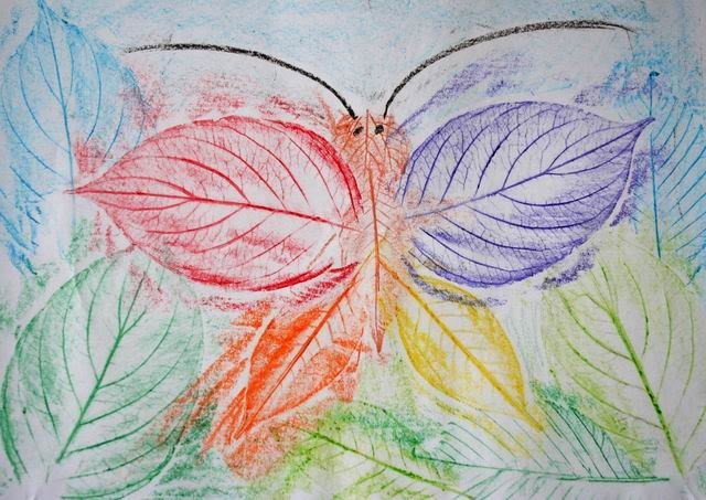 Рисование картин осенними листьями, фото 9