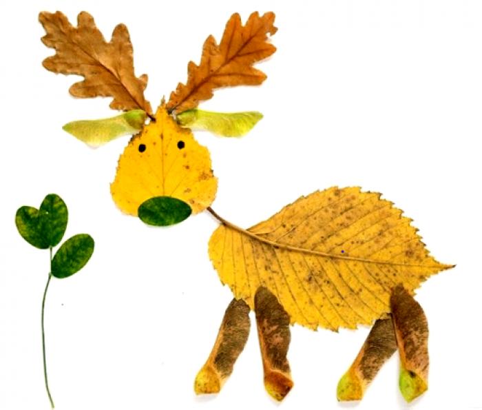 аппликация из осенних листьев, фото 9