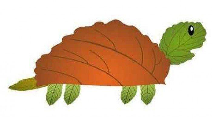аплікація з осіннього листя, фото 4