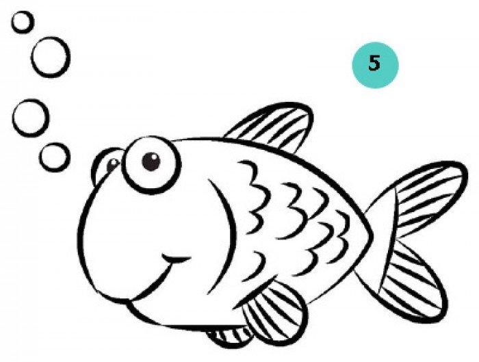 как нарисовать рыбку, шаг 4