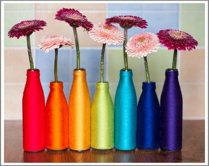 Как сделать вазу из стеклянной бутылки. Ваза из ниток