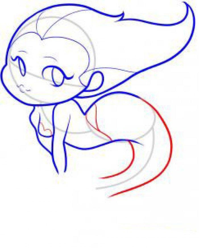 Як намалювати маленьку русалочку, схема 2, крок 6