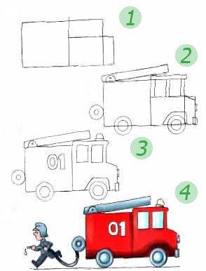 Як намалювати пожежну машину. Схема 7