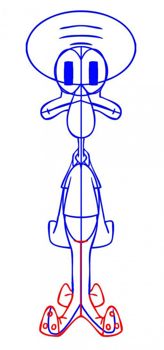Как нарисовать Сквидварда поэтапно, шаг 5