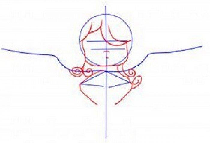 Как нарисовать ангела схема 2, шаг 2