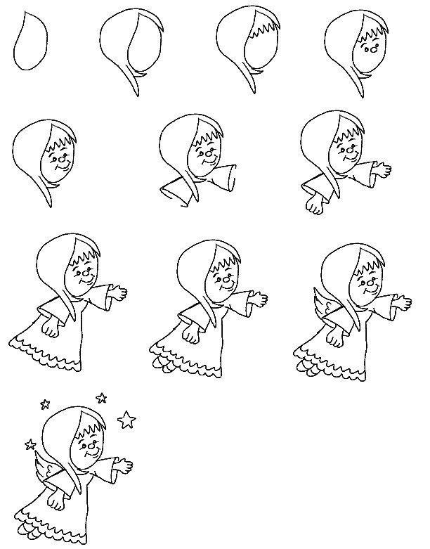 Как нарисовать ангела схема 5