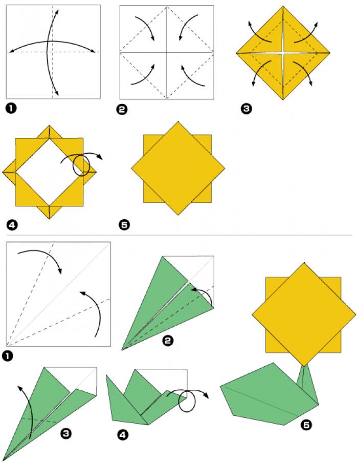 Оригами одуванчик (схема)