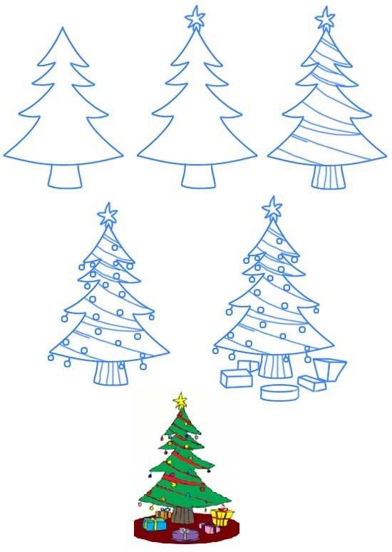 Красивые нарисованные открытки на новый год