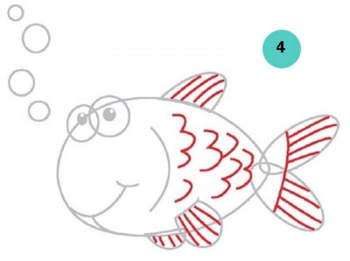 как нарисовать рыбку, шаг 3