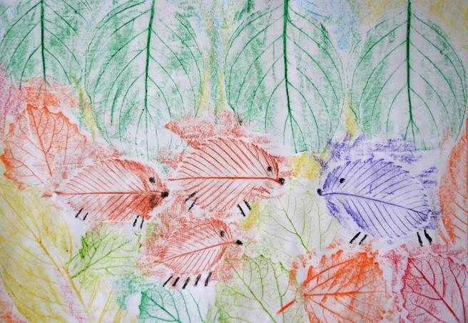 Рисование картин осенними листьями, фото 8
