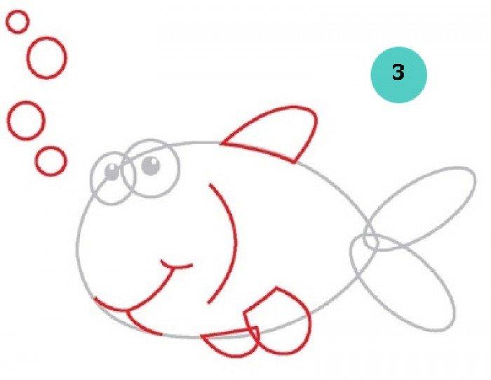 как нарисовать рыбку, шаг 2