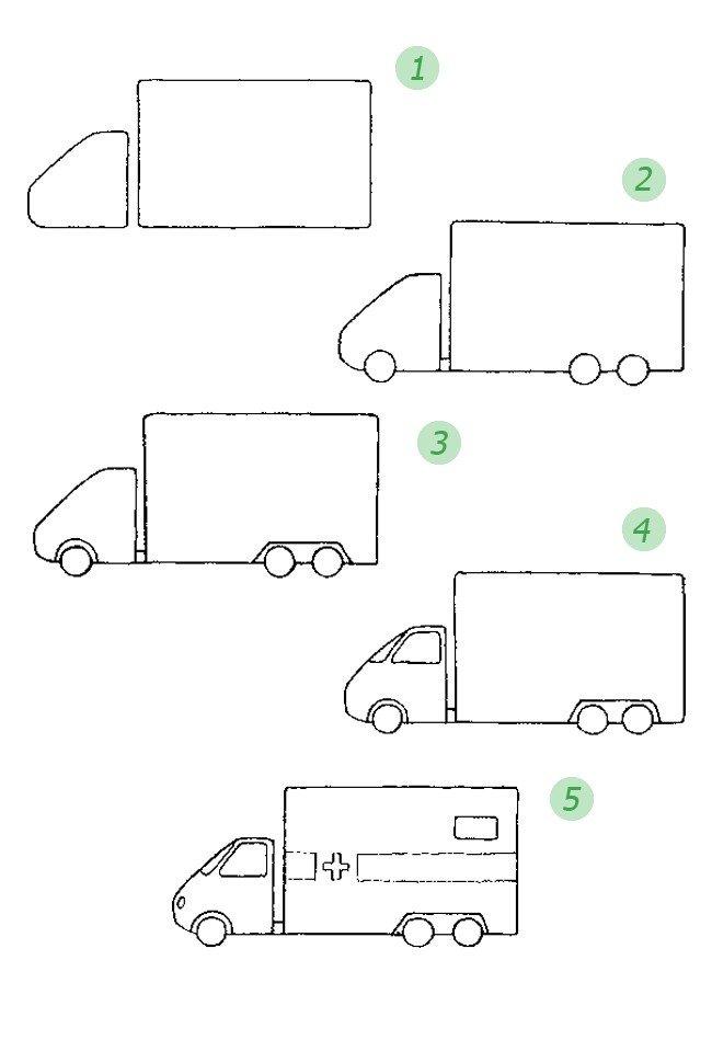Как нарисовать пожарную машину. Схема 6
