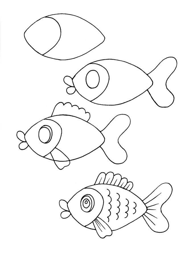 как нарисовать рыбку схема 3