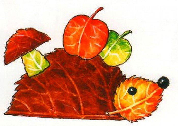 аплікація з осіннього листя, фото 11