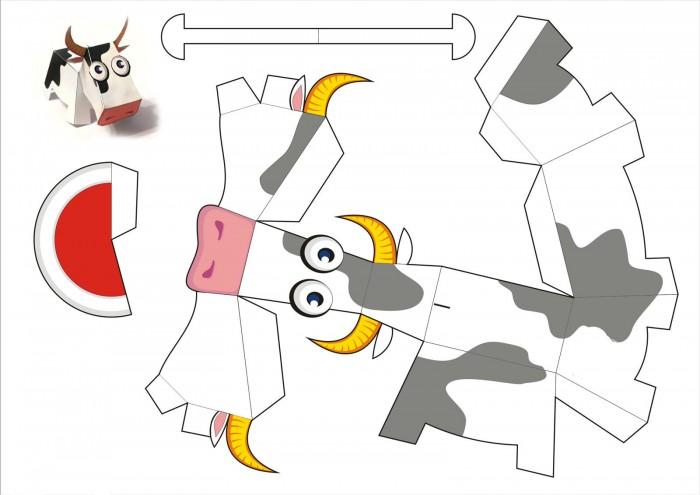 Корова в технике паперкрафт