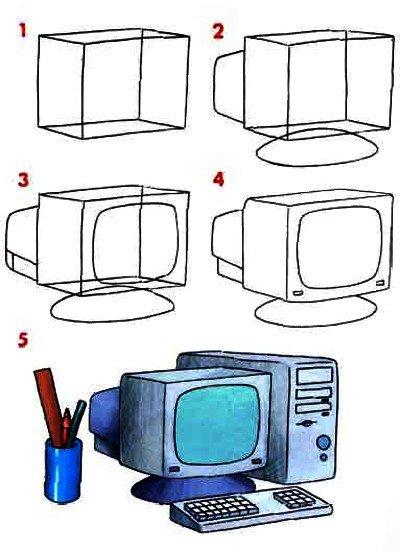 Как нарисовать компьютер