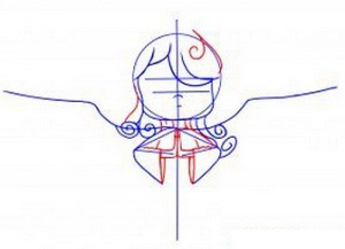 Как нарисовать ангела схема 2, шаг 3
