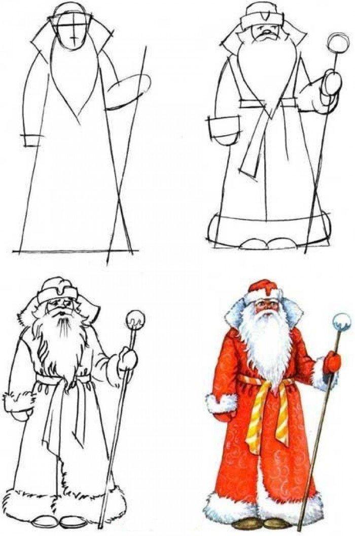 Как нарисовать Деда Мороза поэтапно, фото 1