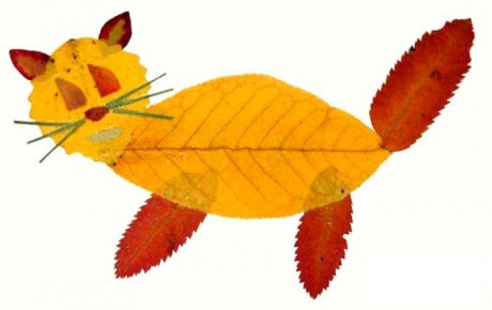 аппликация из осенних листьев, фото 17