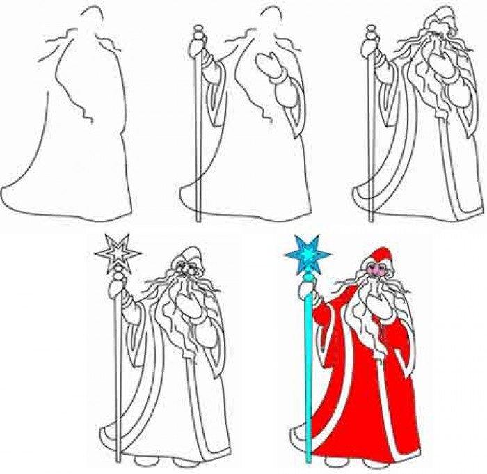 Как нарисовать Деда Мороза поэтапно, фото 3