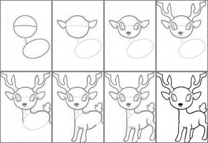 Как нарисовать оленя Рудольфа поэтапно, фото 1