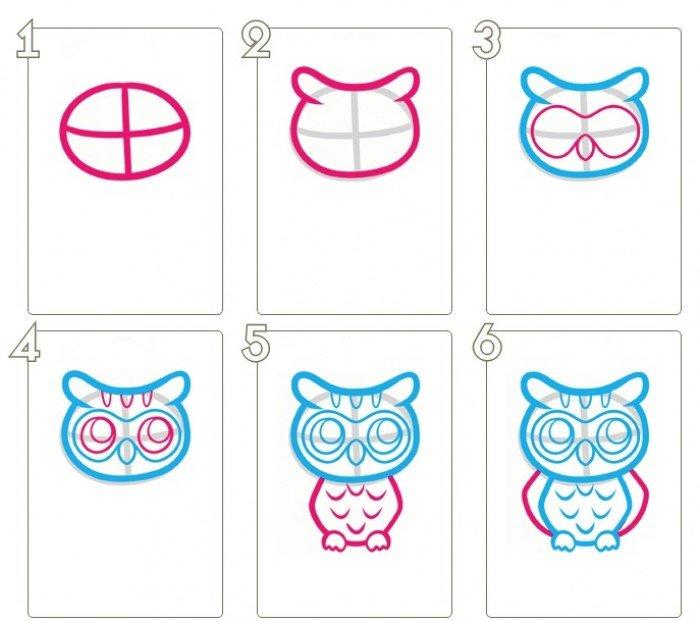 пошаговая схемка: как легко рисовать сову