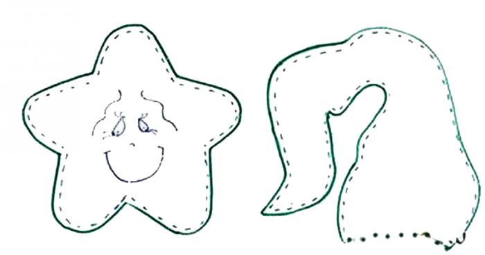 Звезда в колпаке Санты, игрушка на елочку, выкройка