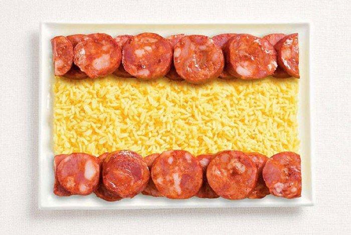 Национальный флаг Испании из еды
