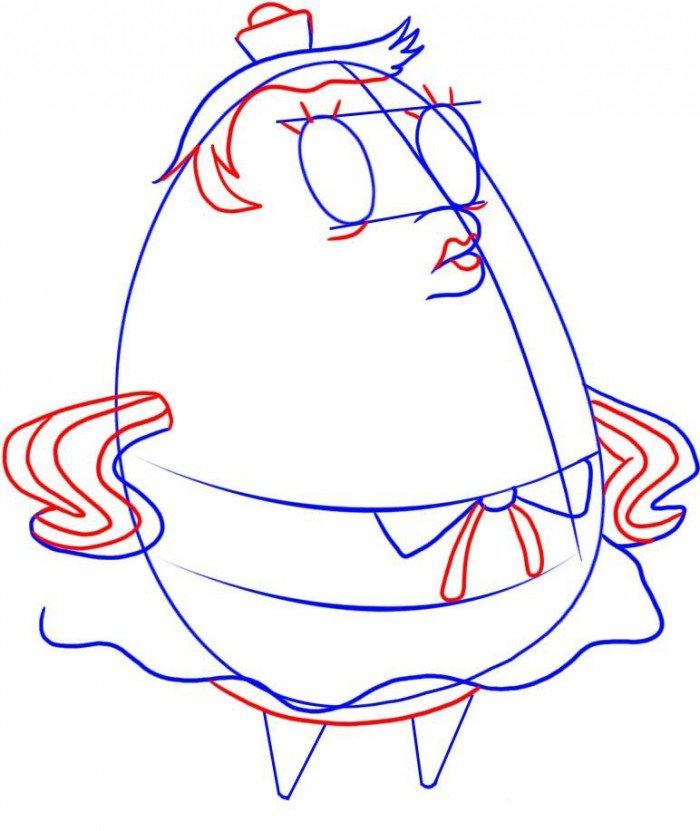 Как нарисовать Миссис Пафф поэтапно, шаг 4
