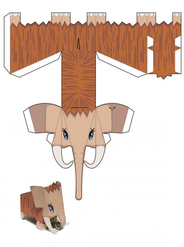 Слон в технике паперкрафт