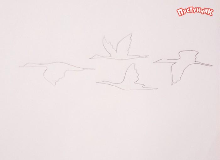 теперь рисунок журавлей летящих распустила волосы