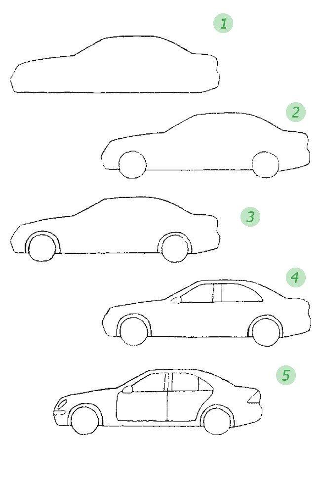 Как красиво нарисовать машину. Схема 4