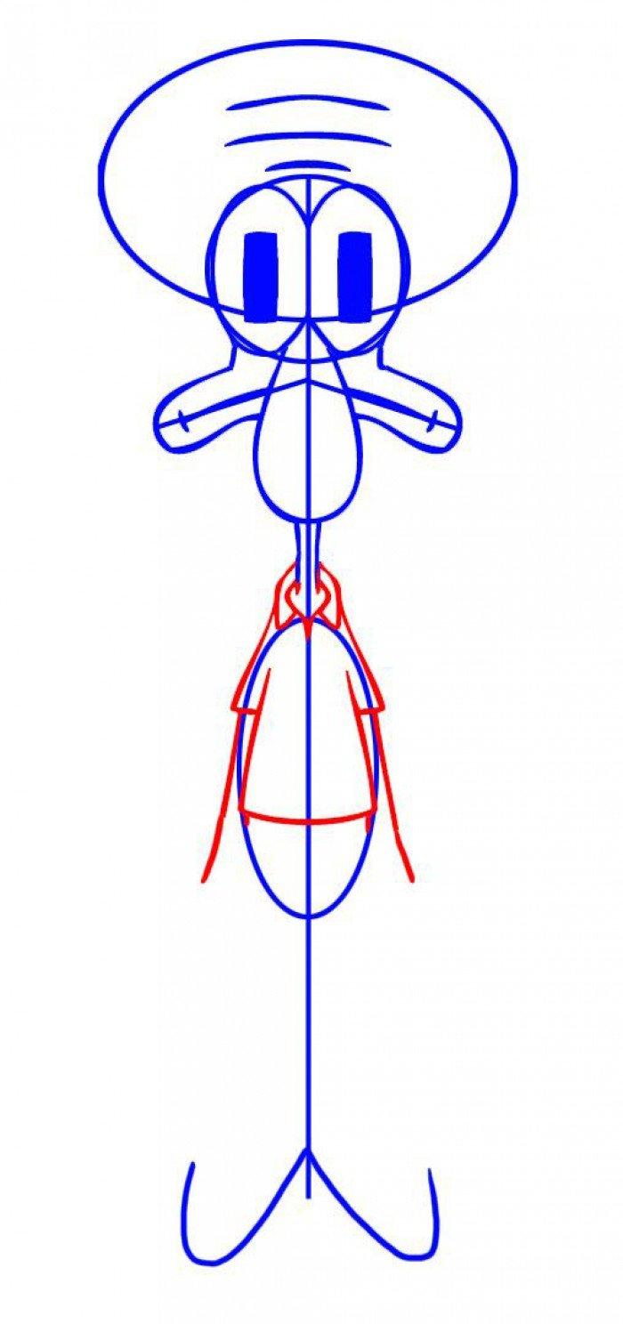 Как нарисовать Сквидварда поэтапно, шаг 4