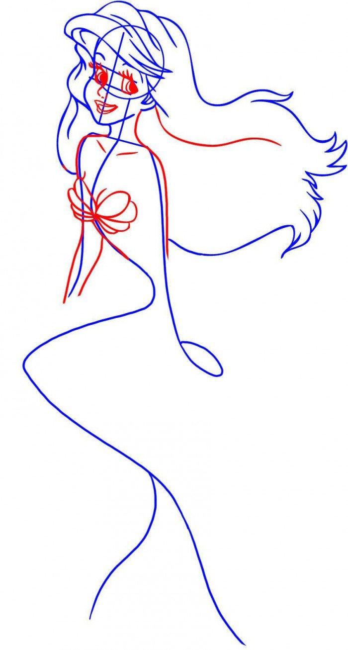 Як намалювати русалку Аріель, схема 1, крок 3