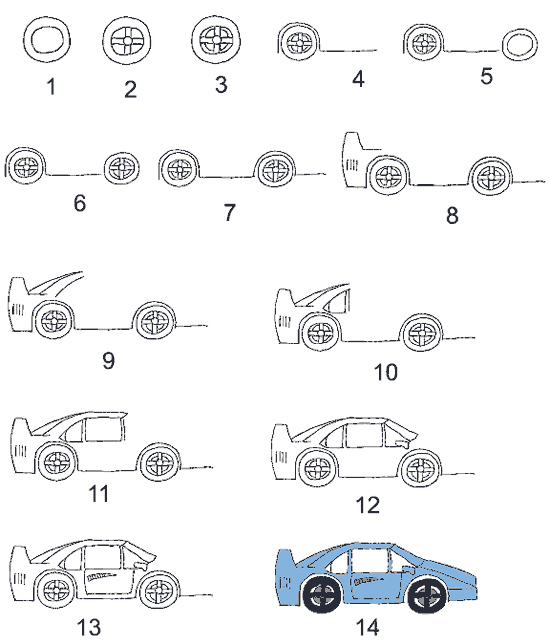 Как нарисовать гоночную машину. Схема