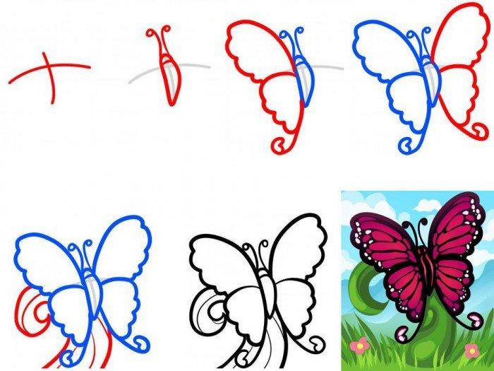 Як намалювати метелика крок за кроком, фото 1