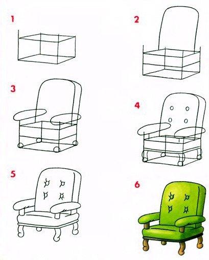 Як намалювати крісло