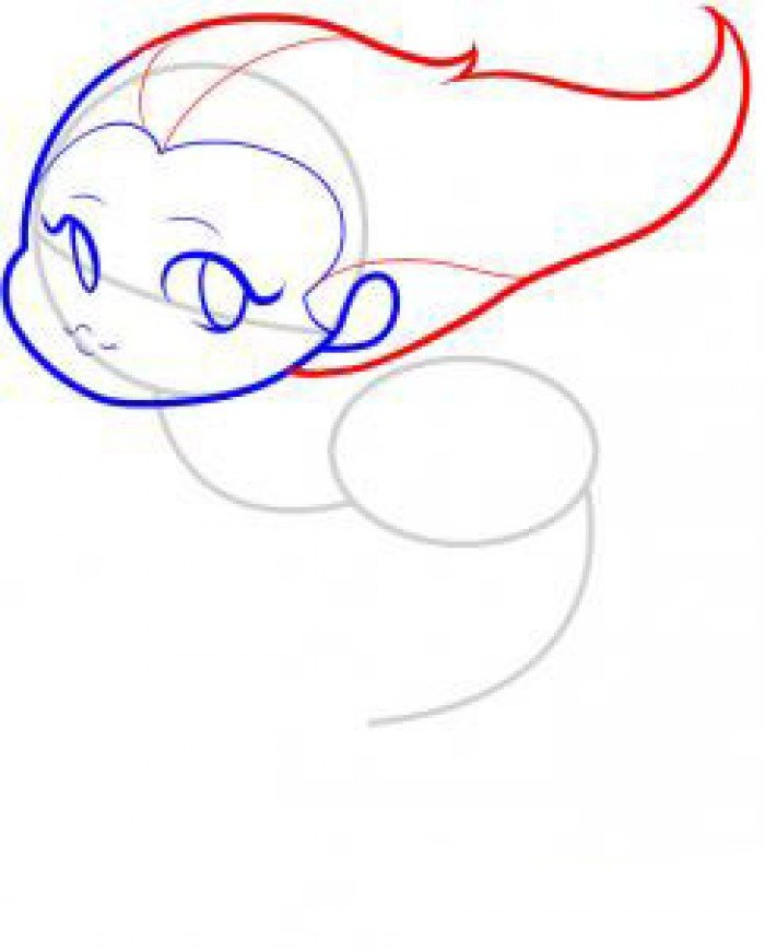 Як намалювати маленьку русалочку, схема 2, крок 4