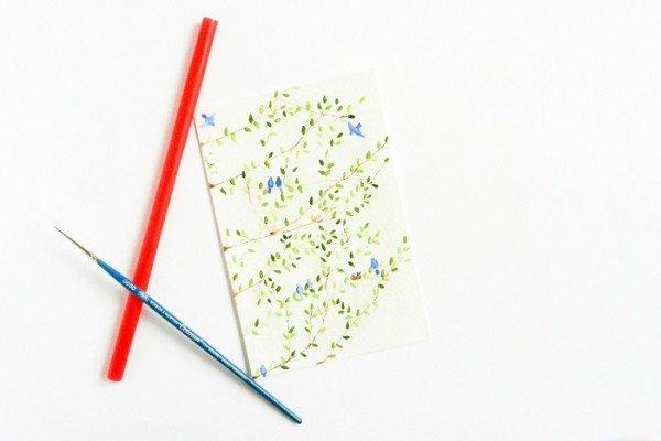 Рисуем акварелью: птицы на весенних ветвях