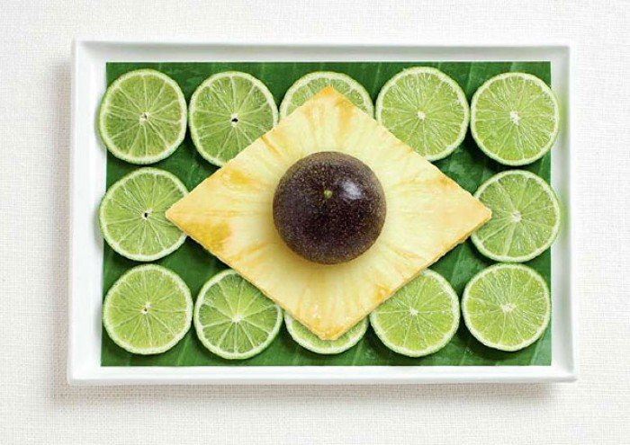 Национальный флаг Бразилии из еды