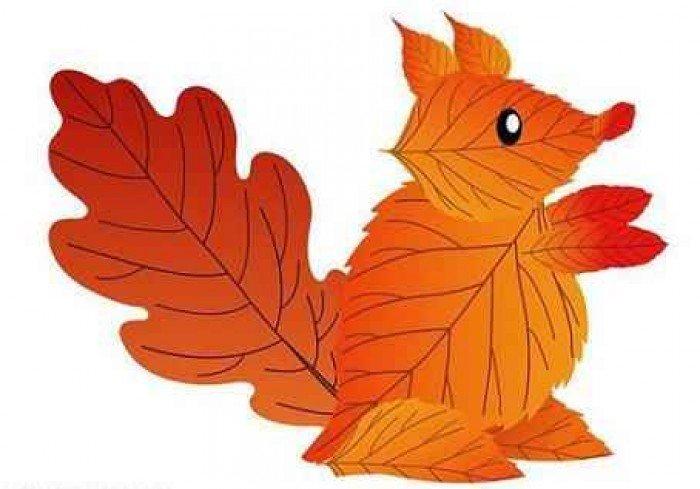 аплікація з осіннього листя, фото 9
