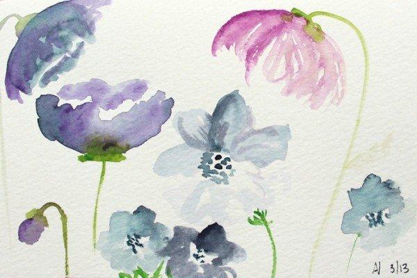 Рисуем акварелью поэтапно цветы