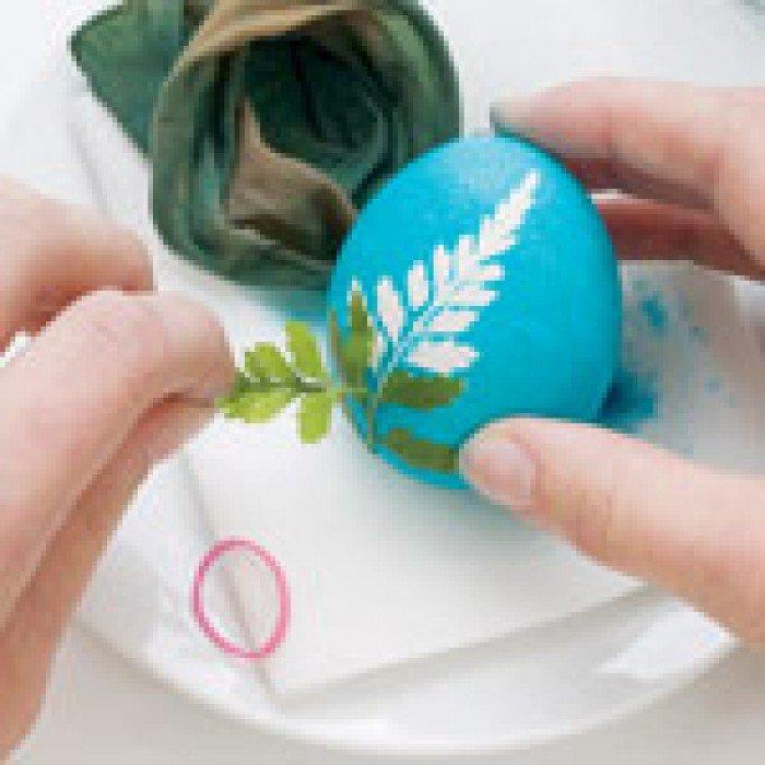 Фарбуємо крашанки з листочками рослин, крок 4