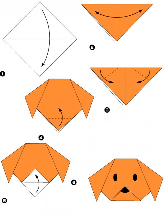 Оригами собака (схема)