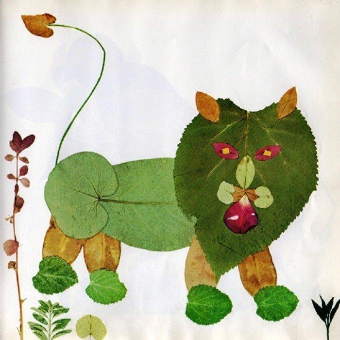 аплікація з осіннього листя, фото 17