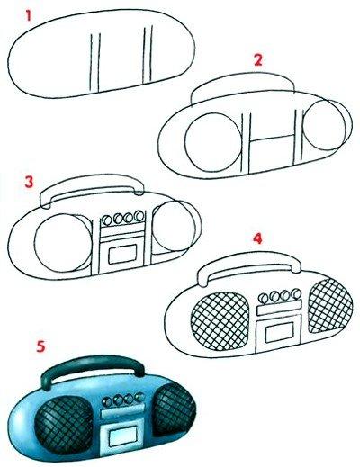 Как нарисовать магнитофон
