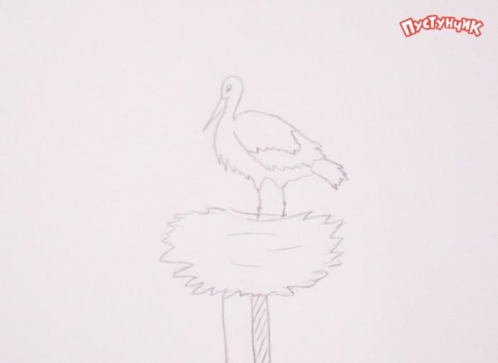 Як намалювати лелеку, крок 3
